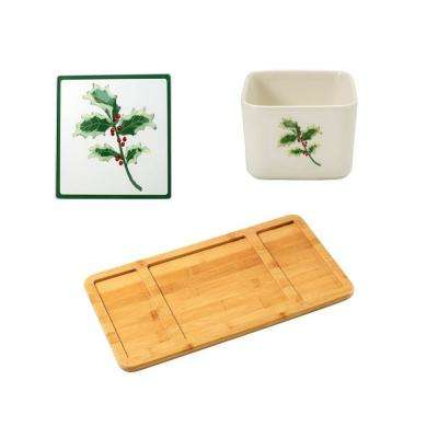 Bamboo Cheese Board, Christmas Glass Cutting Board and Square Porcelain Christmas Appetizer Bowl
