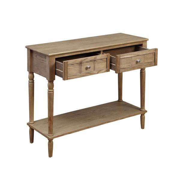 French Country 29.50 in. H Driftwood 2-Drawer Hall Table
