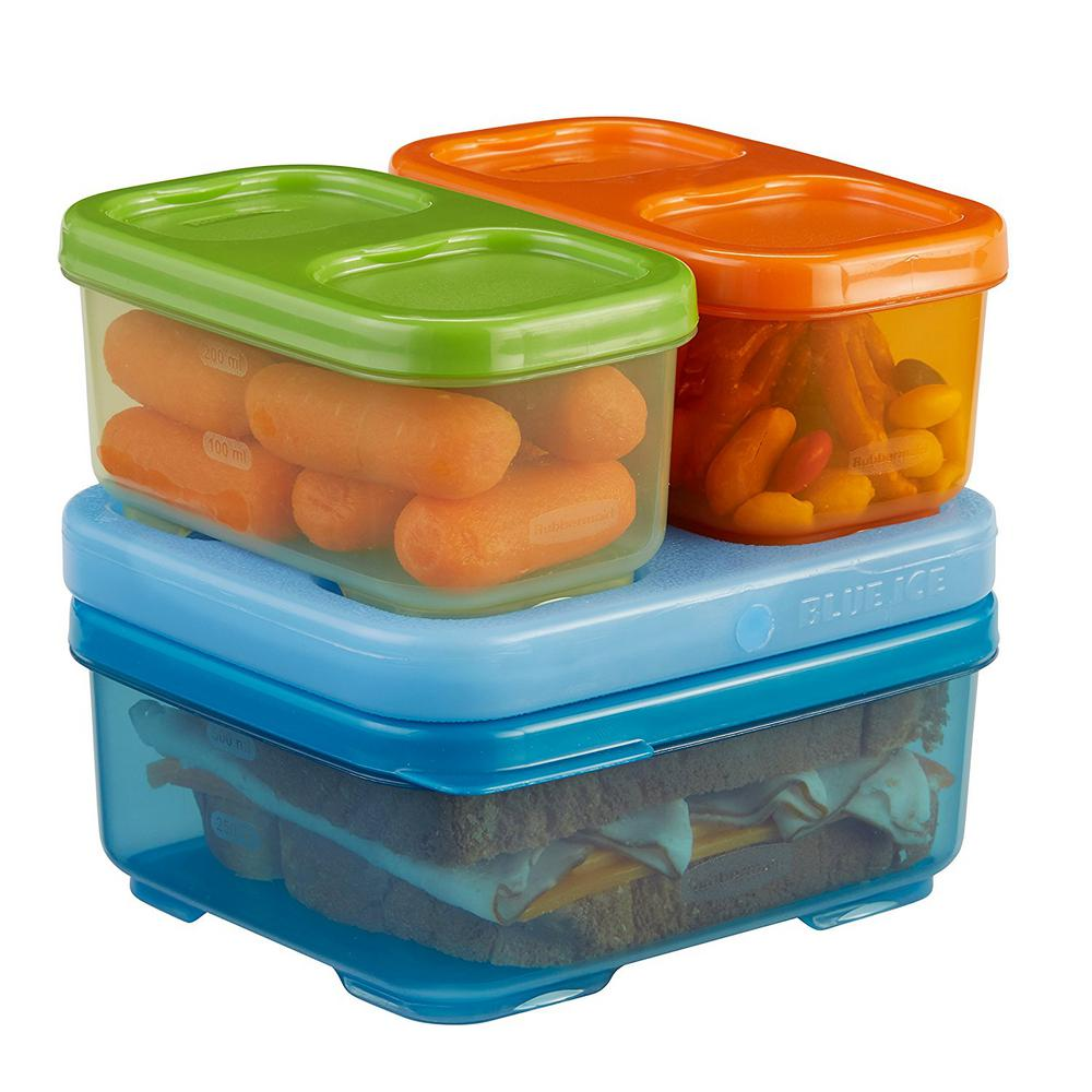 Rubbermaid Lunch Blox Kids 4 Piece Blue Storage Container Set