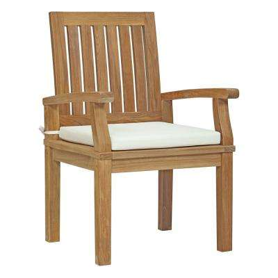 Marina Patio Teak Outdoor Dining Chair in Natural with White Cushions