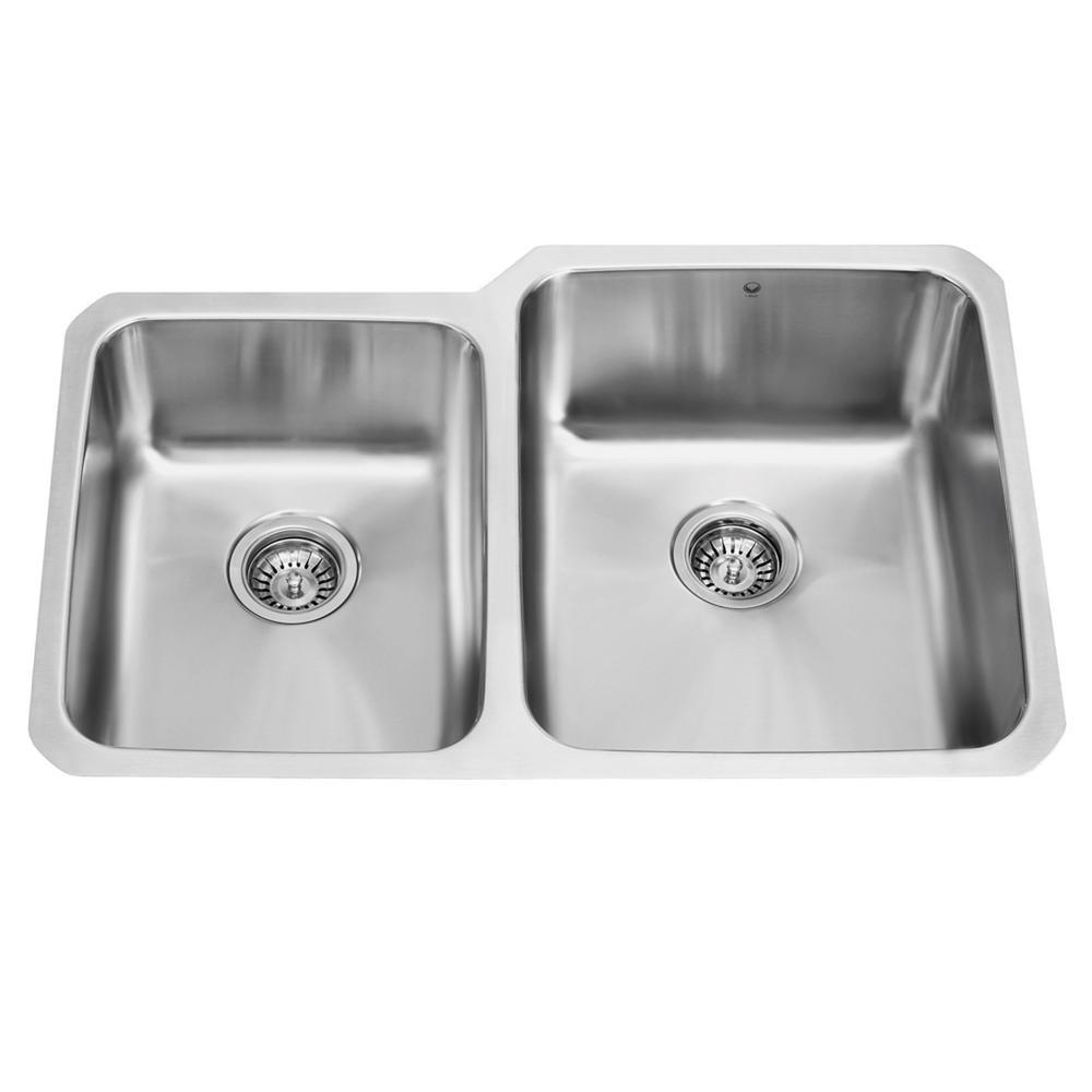 VIGO Undermount Stainless Steel 32 in. Double Basin Kitchen Sink