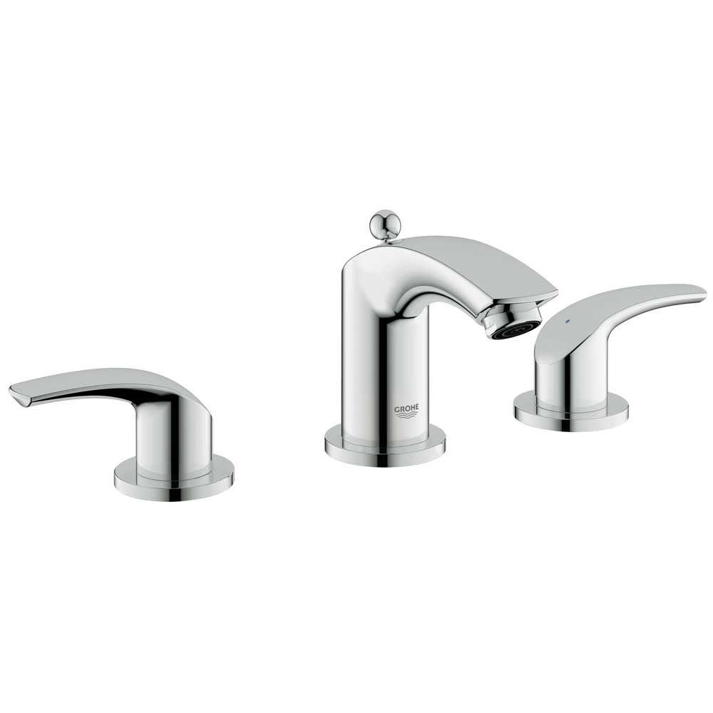 GROHE Eurosmart 8 in. Widespread 2-Handle Low-Arc Bathroom Faucet in StarLight Chrome