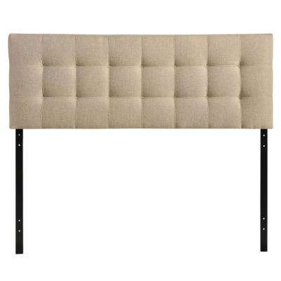 Lily Beige Queen Upholstered Fabric Headboard
