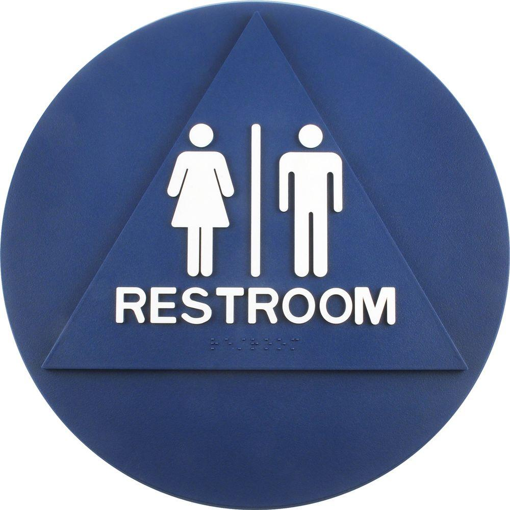 Restroom Blue Triangle On Circle California ADA Signs - Gender neutral bathroom signs california