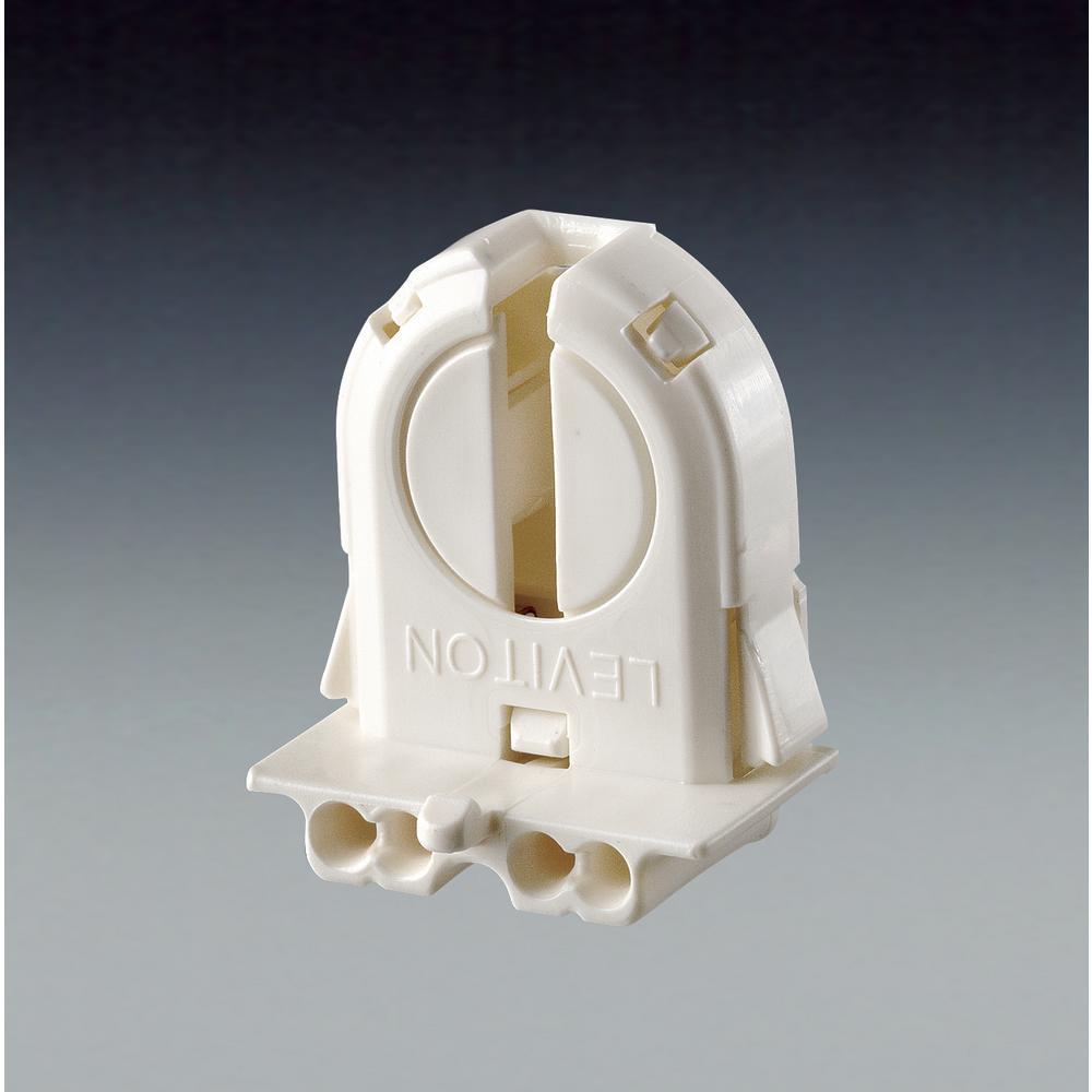 660W Medium Base T8 Bi-Pin Extra-Low Profile Snap-In/Slide-On, Lamp-Lock Standard Fluorescent Lampholder, White