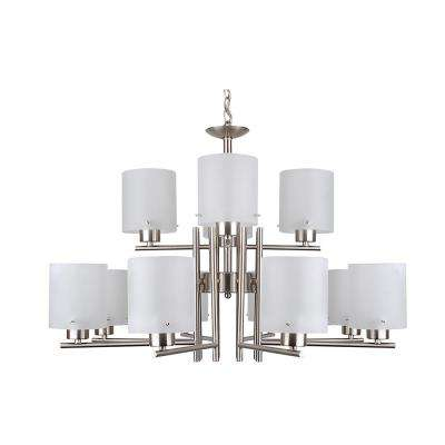 12-Light Satin Steel Chandelier with Etched Acid Wash Glass Shade