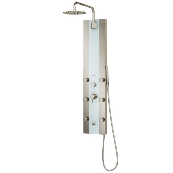 1.8 GPM Tropicana 6-Jet Shower System in White Glass