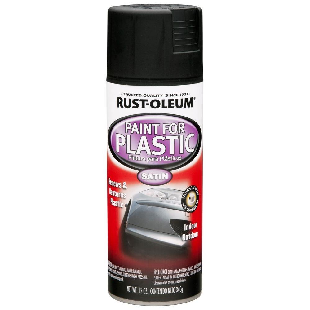 12 oz. Black Satin Spray Paint for Plastic (6-Pack)
