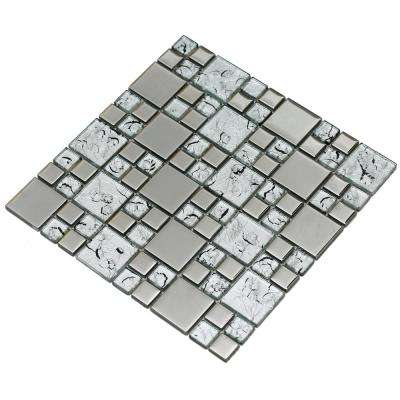 Rousha/Silver, 4 in. x 4 in. x 6 mm Glass Mesh-Mounted Mosaic Tile, Tile Sample
