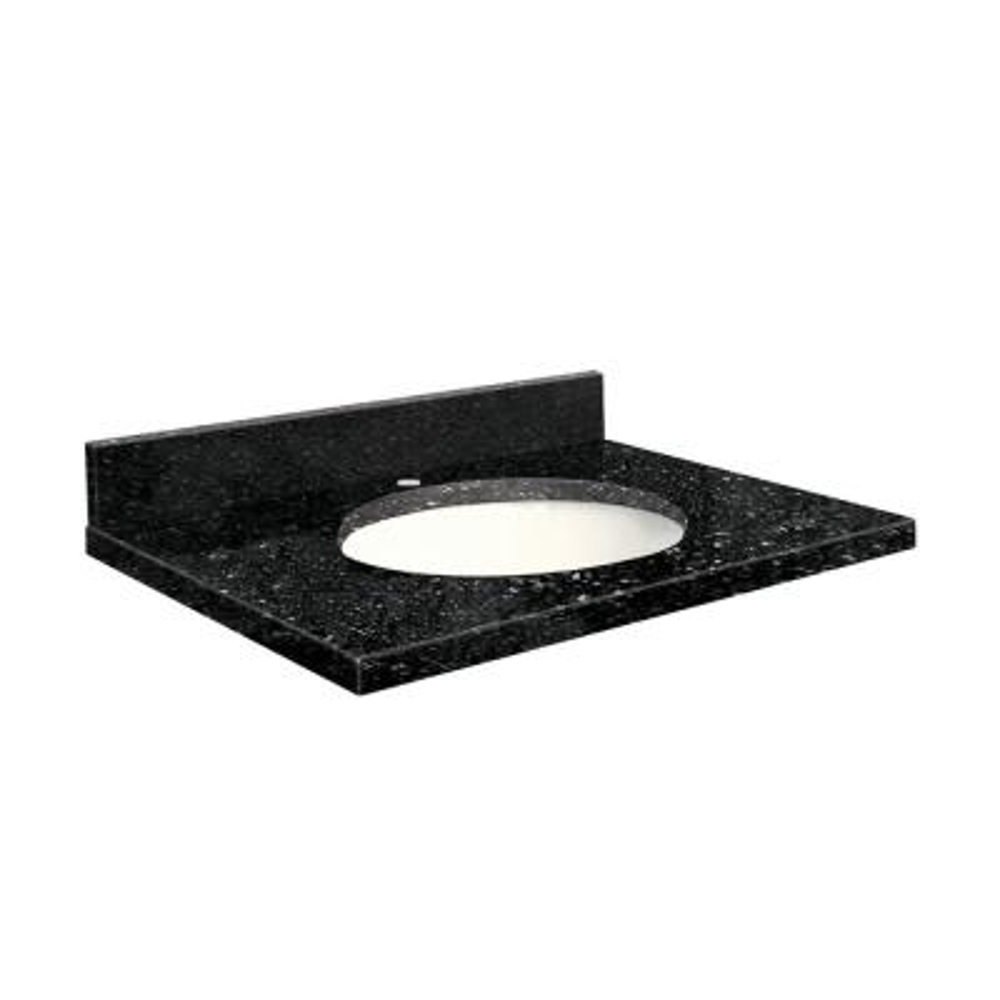 25 in. W x 22 in. D Quartz Vanity Top in Notte Black with White Basin