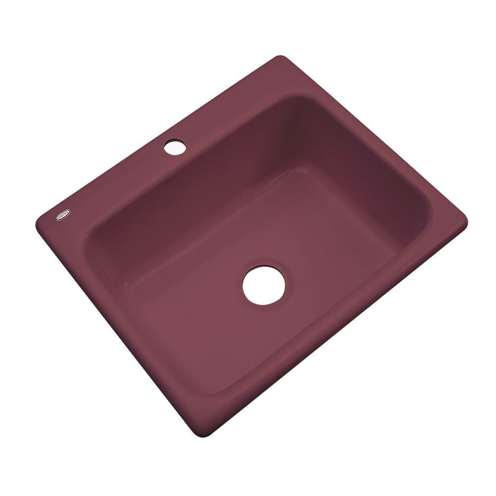 Thermocast Inverness Drop-In Acrylic 25 in. 1-Hole Single Bowl Kitchen Sink in Raspberry Puree