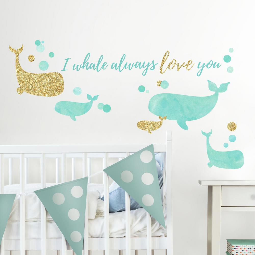 Roommates 5 in x 115 in i whale always love you 32 piece peel i whale always love you 32 piece peel and stick wall decals with glitter rmk3514scs the home depot amipublicfo Gallery
