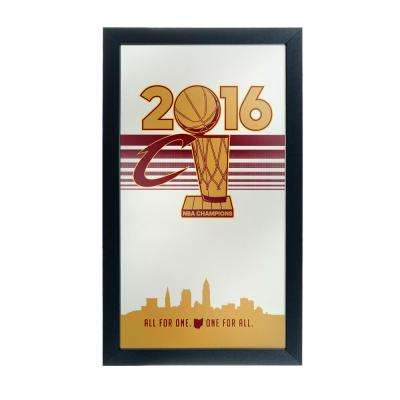 26 in. x 15 in. Cleveland Cavaliers 2016 NBA Champions Black Wood Framed Mirror
