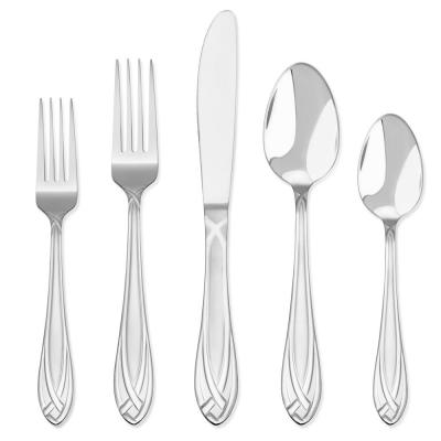 Lace Frosted 54-Piece 18/0 Stainless Steel Flatware Set with Wood Caddy (Service for 8)