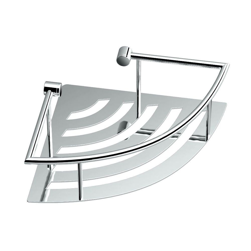 11 in. W Elegant Corner Shelf in Chrome