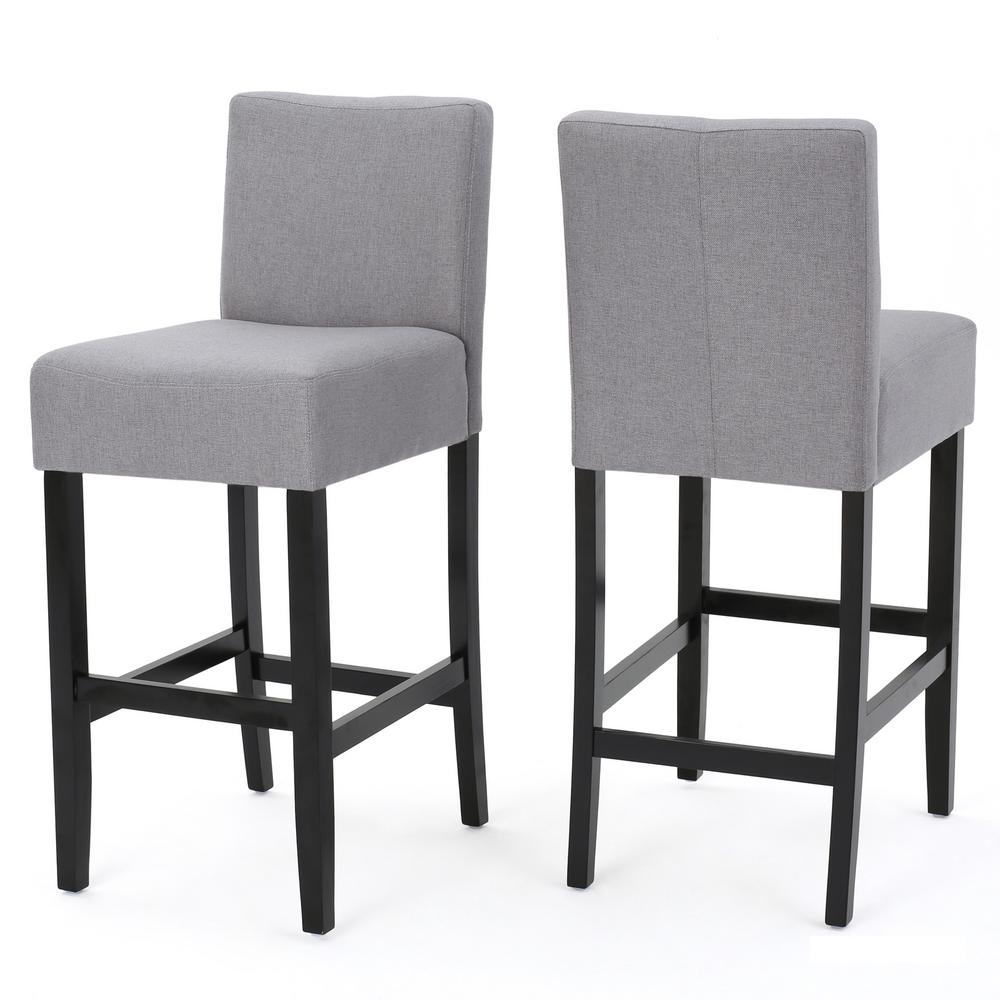 Noble House Lopez 29 5 In Light Grey Fabric Bar Stool