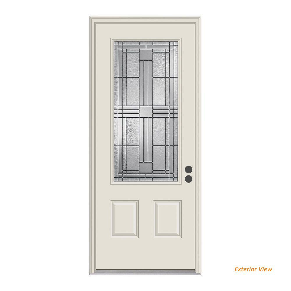 36 in. x 80 in. 3/4 Lite Cordova Primed Steel Prehung Left-Hand Inswing Front Door w/Brickmould