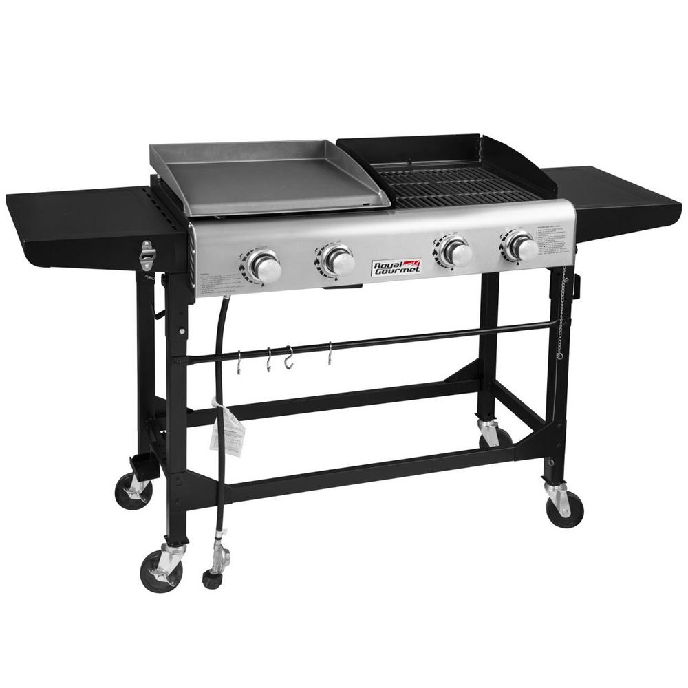 4-Burners Portable Propane Gas Grill and Griddle Combo Grills in Black