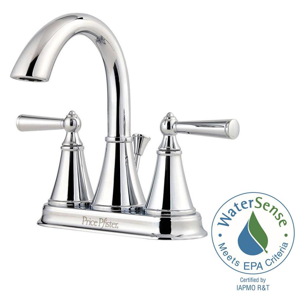 Pfister Saxton 4 in. Centerset 2-Handle High-Arc Bathroom Faucet in Polished Chrome