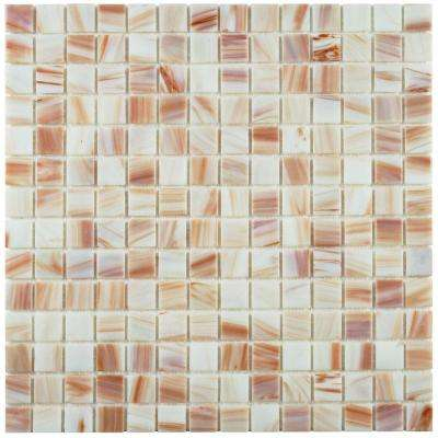 Coppa Bronze White 12 in. x 12 in. x 4 mm Glass Mosaic Tile