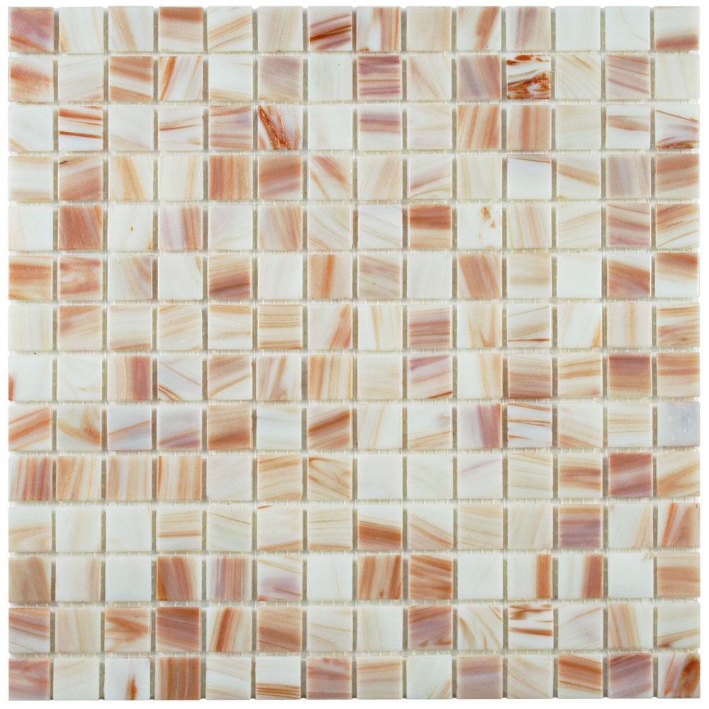 Merola Tile Coppa Bronze White 12 in. x 12 in. x 4 mm Glass Mosaic ...