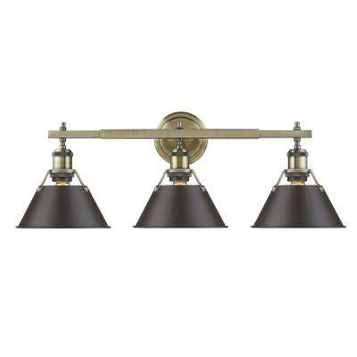 Orwell AB 3-Light Aged Brass Bath Light with Rubbed Bronze Shade