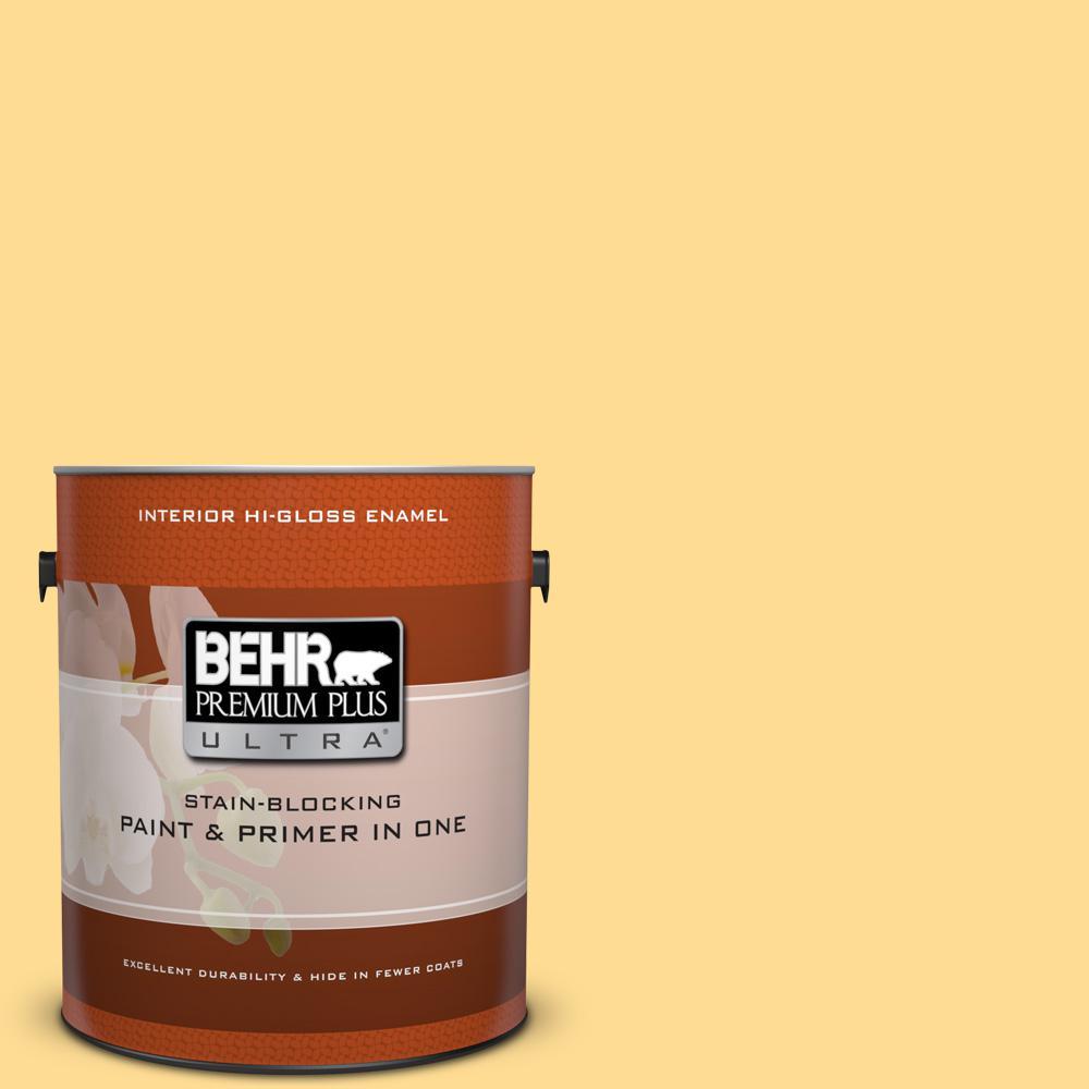 1 gal. #320B-4 Lemon Pound Cake Hi-Gloss Enamel Interior Paint