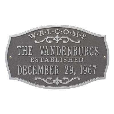 Brookfield Welcome Rectangular Standard Wall 2-Line Anniversary Personalized Plaque in Pewter Silver