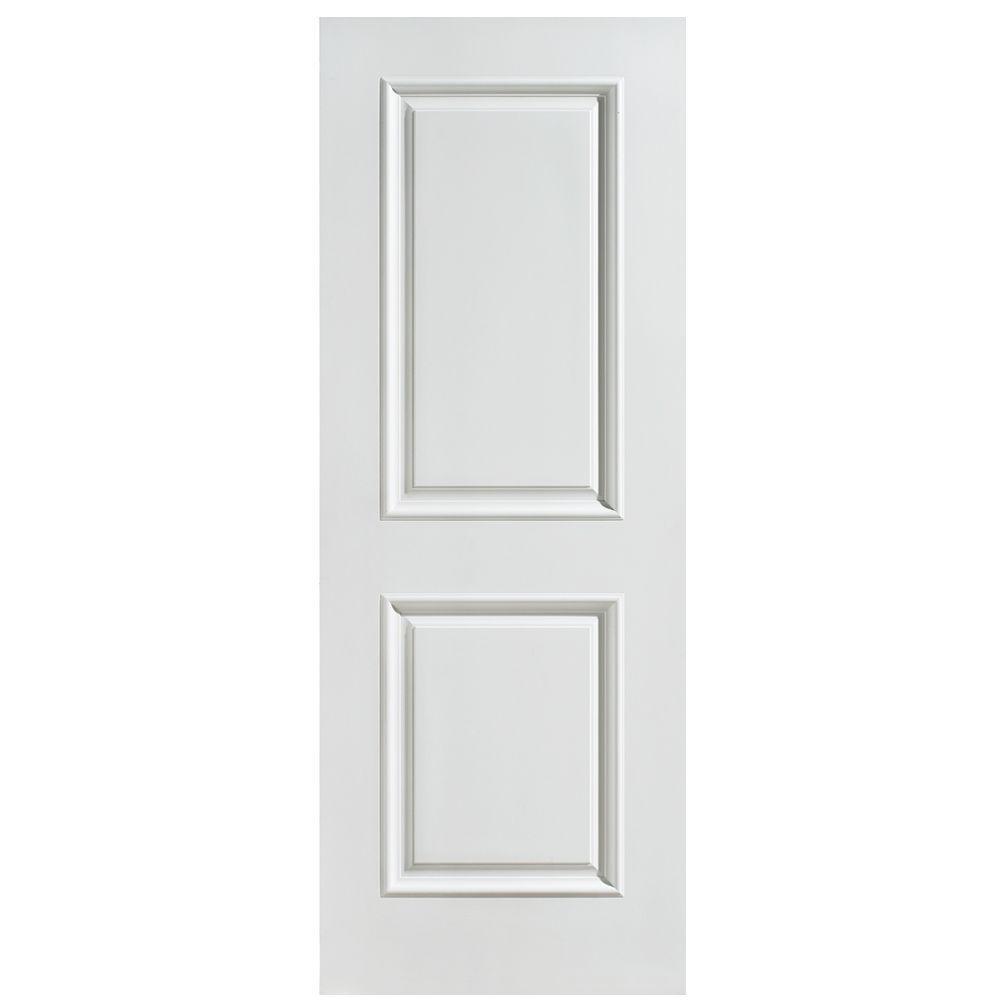 Masonite 28 in. x 80 in. Palazzo Capri Smooth 2-Panel Square Solid Core Primed Composite Interior Door Slab