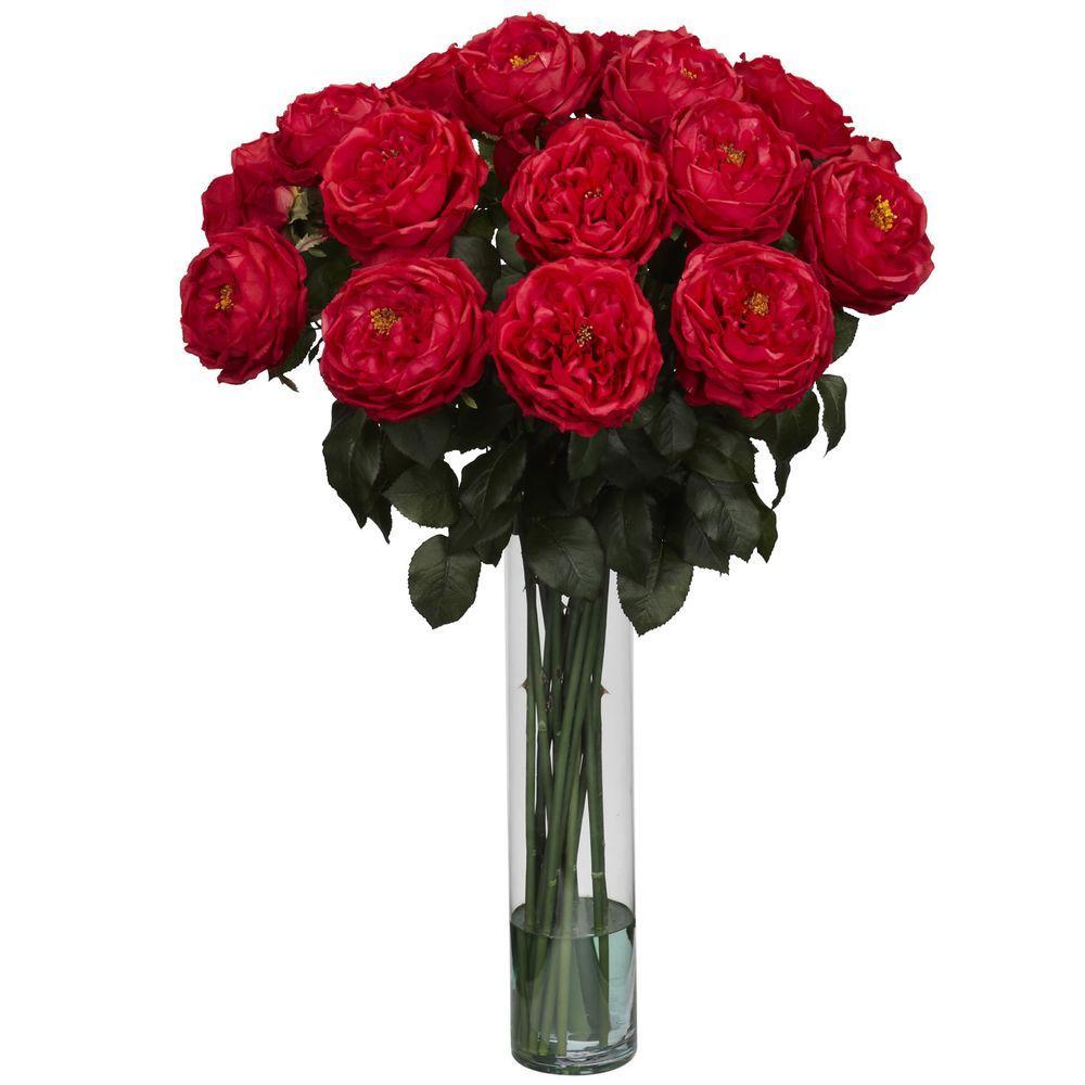 undefined 31 in. H Red Fancy Rose Silk Flower Arrangement