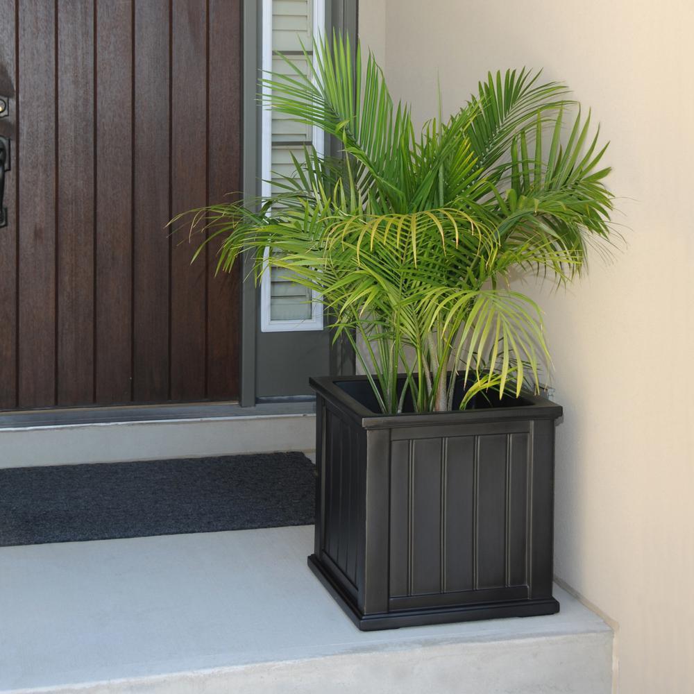 Mayne cape cod 20 in square black plastic planter 4838 b the home square black plastic planter workwithnaturefo