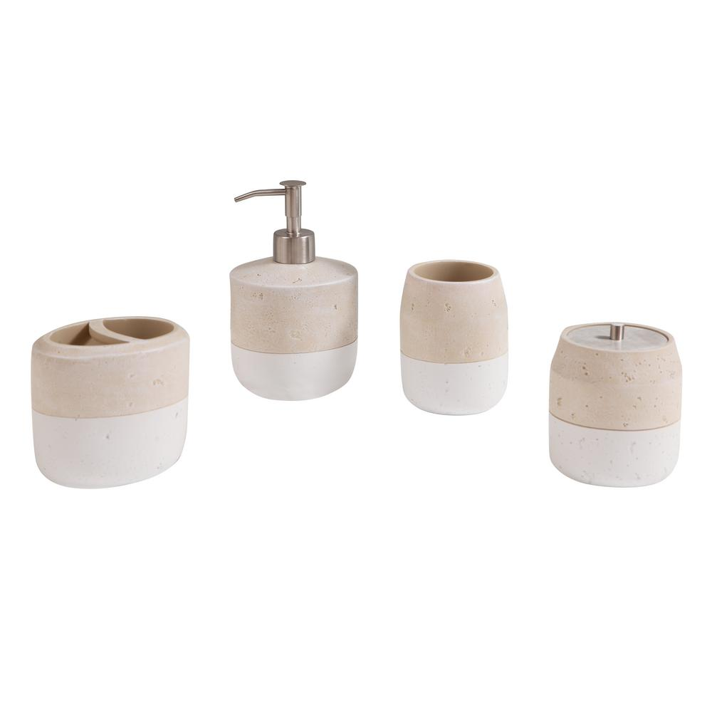 Avanity Koko 4 Piece Bath Accessories Set In Beige And White