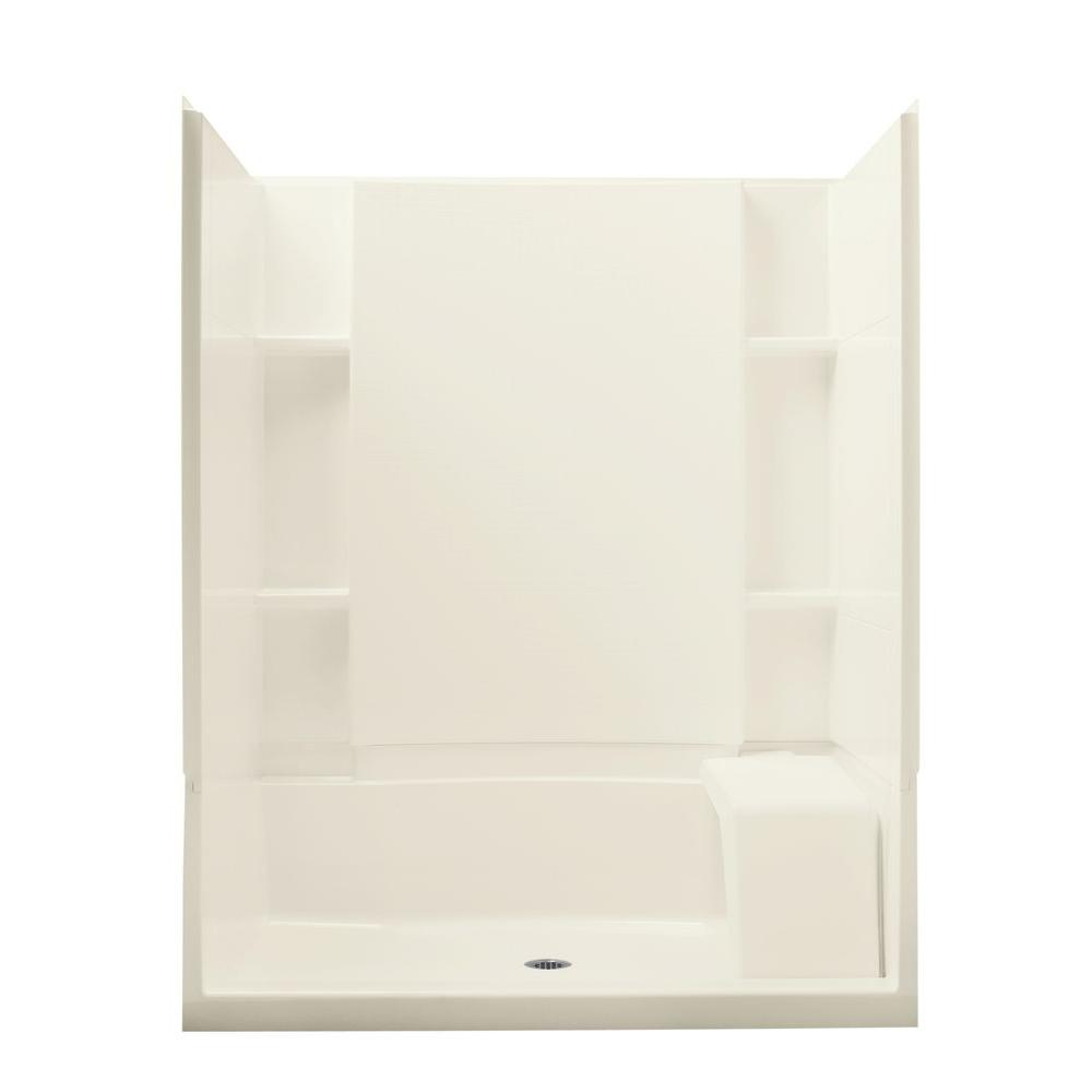 STERLING Accord Seated 36 in. x 60 in. x 74.5 in. Shower Kit with Age-in-Place Backers in Biscuit