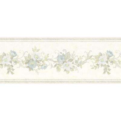 Lory Light Blue Floral Wallpaper Border