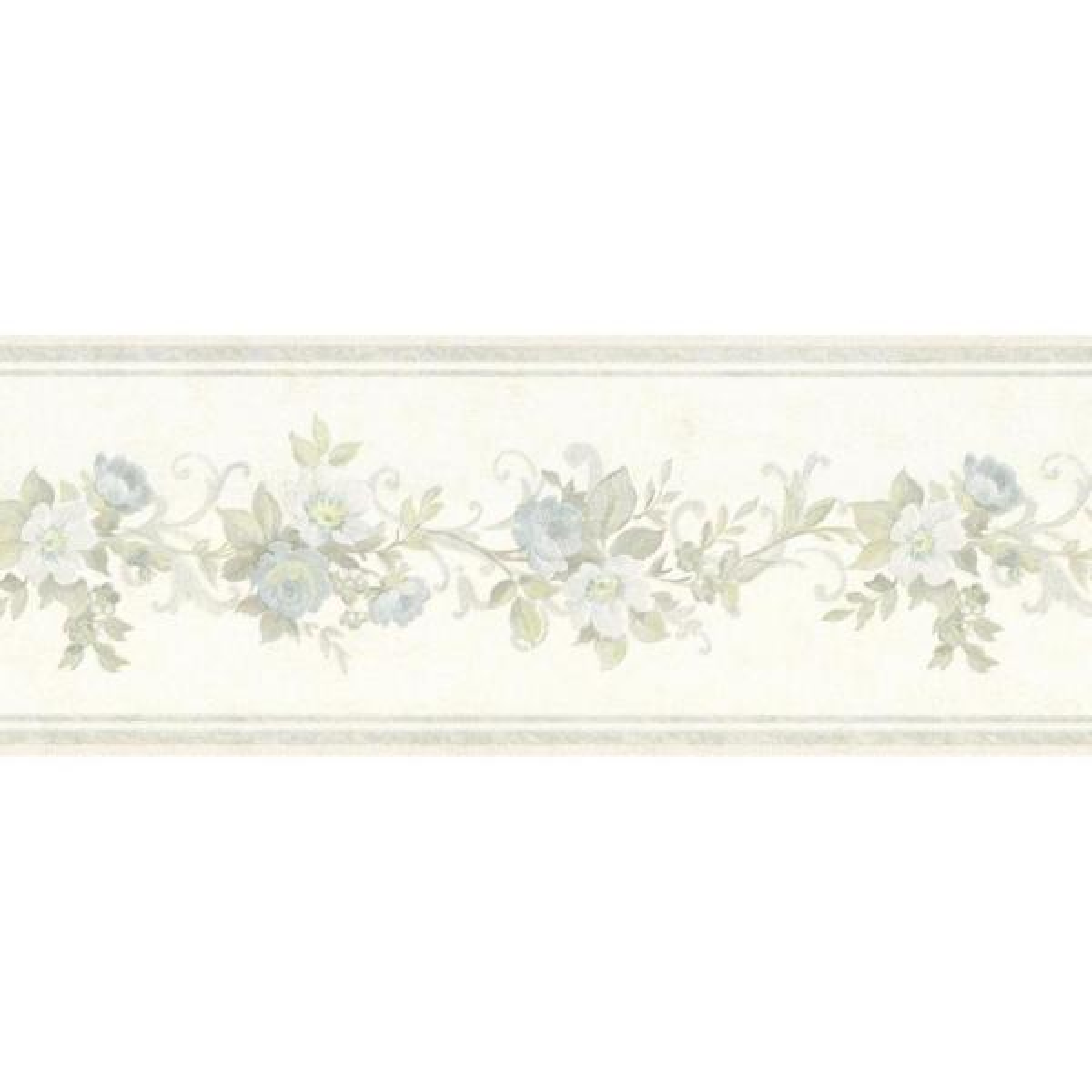 Lory Light Blue Floral Wallpaper Border
