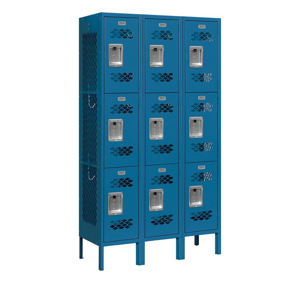 73000 Series 3-Tier 36 in. W x 66 in. H x 12 in. D Vented Metal Locker Assembled in Blue