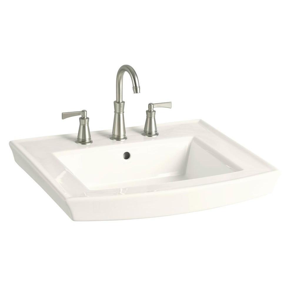 Kohler Archer 8 In Vitreous China Pedestal Sink Basin In