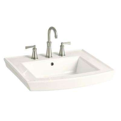 Archer 8 in. Vitreous China Pedestal Sink Basin in Biscuit with Overflow Drain