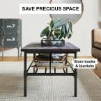 Nathan James Maxx 41 in. Black Metal Frame Rustic Gray Top Industrial Pipe Coffee Table