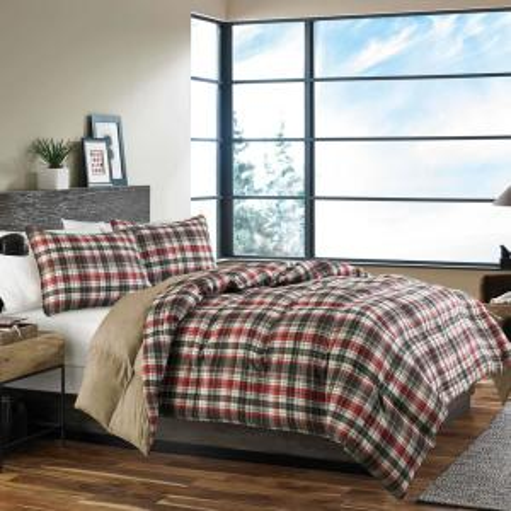 Astoria 3-Piece Red Plaid Plush Micro Suede Full/Queen Comforter Set