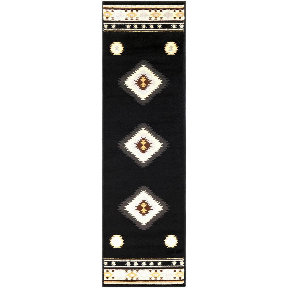 Sora Black 2 ft. 2 in. x 7 ft. 6 in. Native American Runner Rug