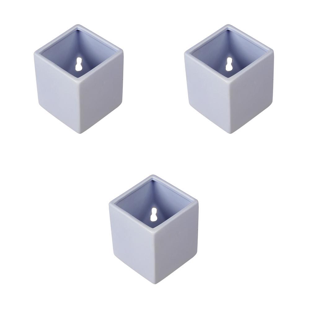 Cube 3-1/2 in. x 4 in. Sky Ceramic Wall Planter (3-Piece)