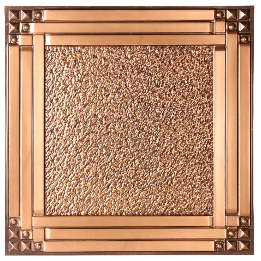 uDecor Genoa 2 ft. x 2 ft. Lay-in or Glue-up Ceiling Tile in Antique Gold (48 sq. ft. / case)