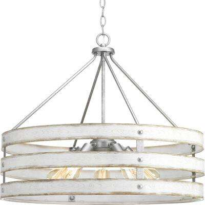 Gulliver Collection 5-Light Galvanized Drum Pendant with Weathered White Wood Accents