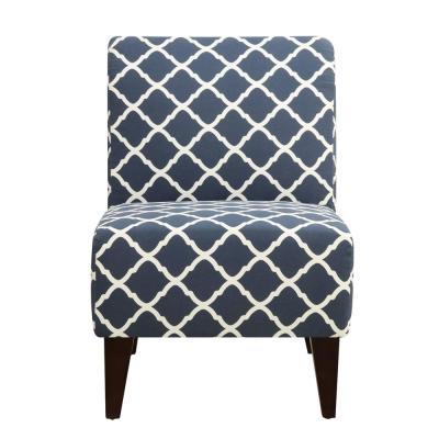 North Accent Blue Pattern Slipper Chair