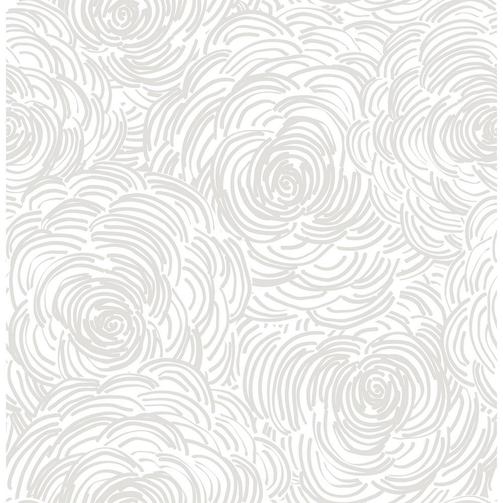 Celestial Taupe Floral Wallpaper Sample