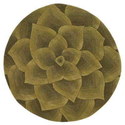 Corolla Green 7 ft. 9 in. x 7 ft. 9 in. Round Area Rug