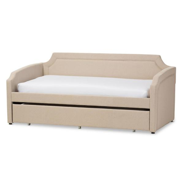 Baxton Studio Parkson Contemporary Beige Fabric Upholstered Twin Size Daybed