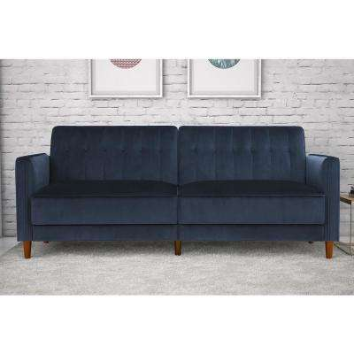 Blue Velvet Pin Tufted Transitional Twin/Double Size Futon