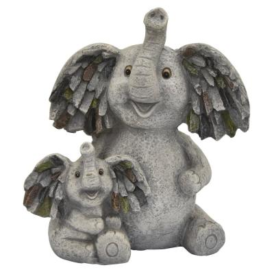 13 in. L x 9 in. W x 16 in. Resin/Magnesium Elephant Garden Decoration in Gray